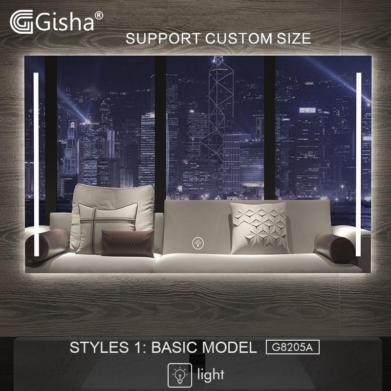 Gisha Smart Mirror LED Bathroom Mirror Wall Bathroom Mirror Bathroom Toilet Anti fog Mirror With Touch