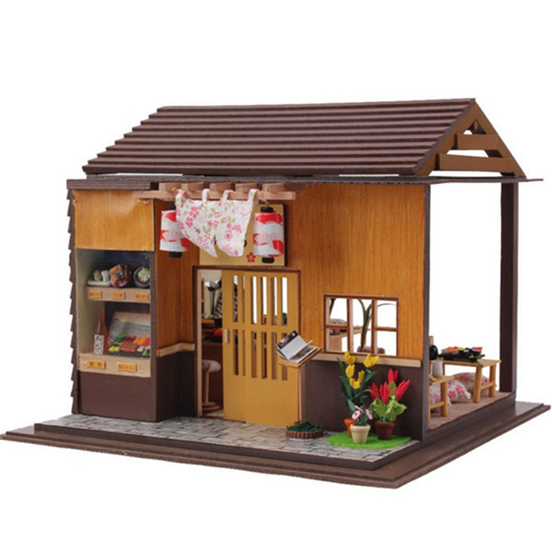 Fabulous Us 38 99 50 Off Hoomeda Diy Wood Dollhouse Miniature Doll Toys With Led Furniture Cover Sushi Bar Japanese Style Home Decoration Gift In Doll Houses Download Free Architecture Designs Viewormadebymaigaardcom