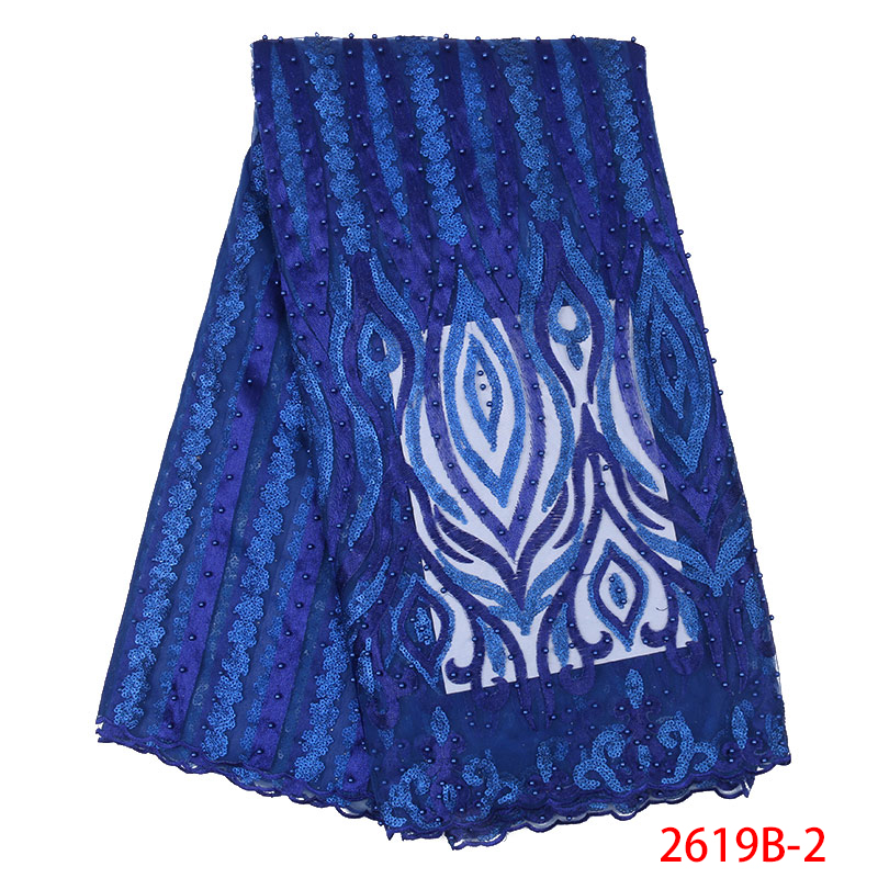 African Lace Fabric Embroidered French Tulle Mesh Sequins Lace Fabric High Quality Nigerian Lace With Beads KS2619B-2