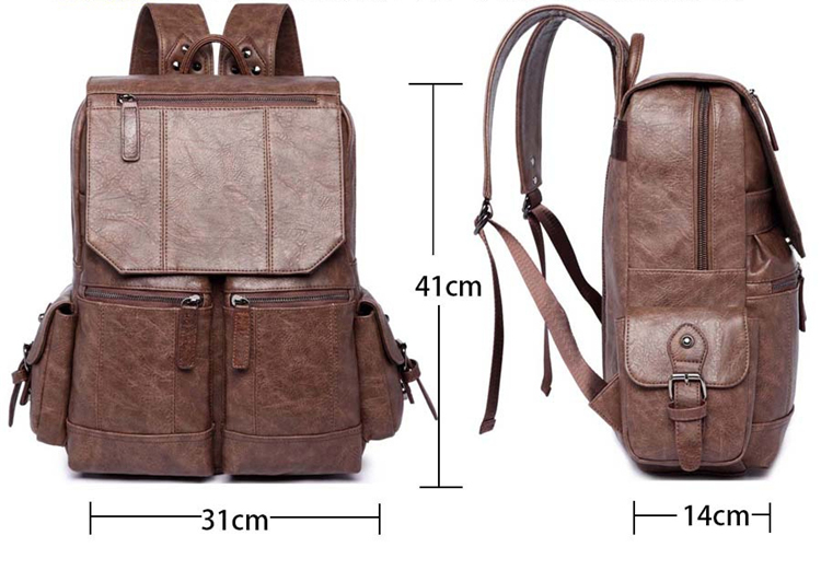 Men PU Leather Backpack Youth Travel School Book Bag Waterproof Men Laptop Business Backpack Shoulder Bag Rack