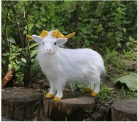 simulation white sheep hard model prop plastic&furs goat large 23x10x21cm,home garden decoration toy gift s2685