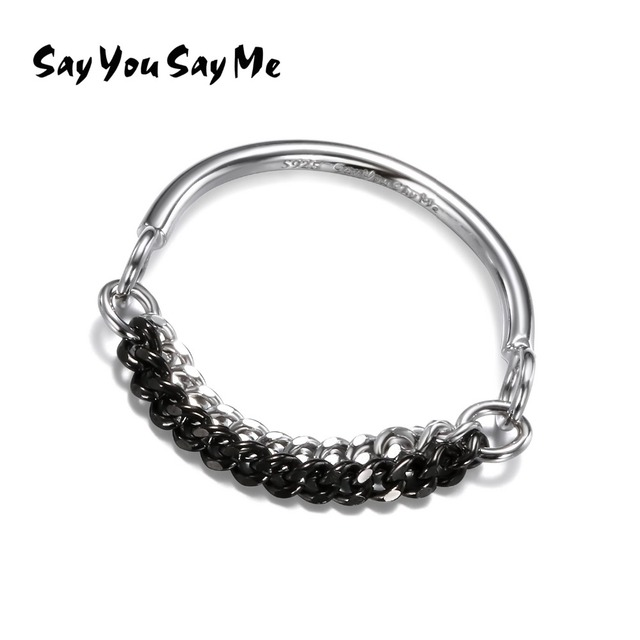925 Silver Double Color Chain Rings Plated Ring Punk Trendy Party Fine Vintage W