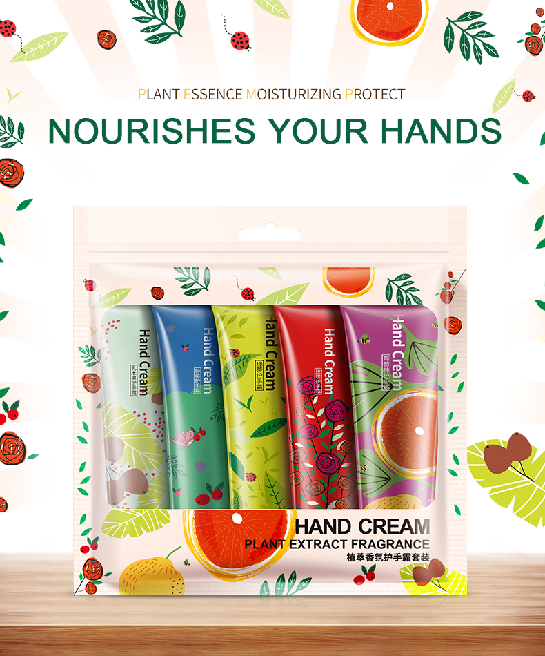 100boxes/lot 5pcs/box BIOAQUA Plant flavor Hand Cream Set Moisturizing Hydra Anti-chapping Whitening skin care set