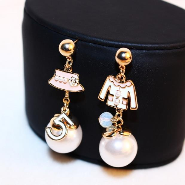 EH94 CC famous brand pearls luxury New 2015 jewelry pendientes brincos boucles d'oreilles channel stud earrings for women
