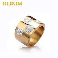 TSR239 Xukim Jewelry gold stainless steel rings women Snowflake ring titanium rings new hot gift