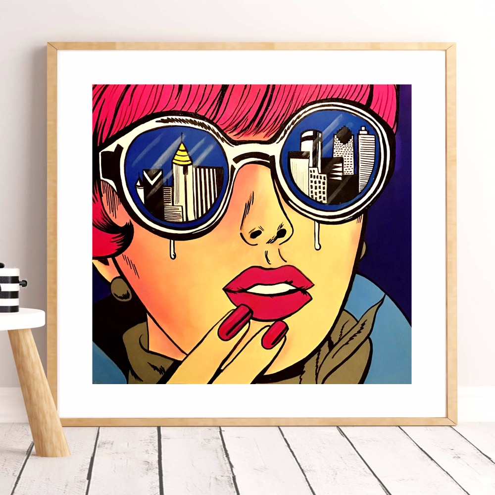Fashionable modern girl Pop Art Phone And Ring 3 Piece HD Print Painting Canvas Wall Art Modern Decoration Picture