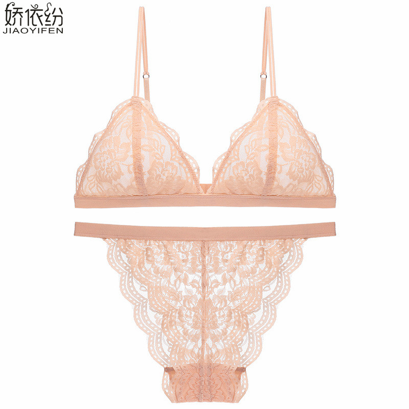 Buy Women bralette ultra-thin comfortable sexy soft lace underwear triangle cup push bra plus size lingerie french bra brief sets