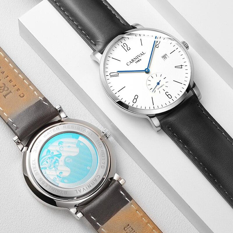 Karneval Automatische mechanische Uhr Männer luxury brand voller Stahl Business männer Uhren Calkskin Leder Mode Casual Datum Uhren - 4