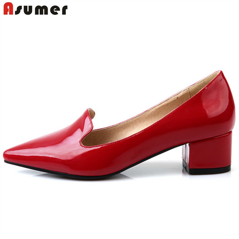 Asumer top quality patent leather women pumps fashion elegant thick heels ladies shoes med heels sweet dress shoes sweet women s pumps with two piece and patent leather design