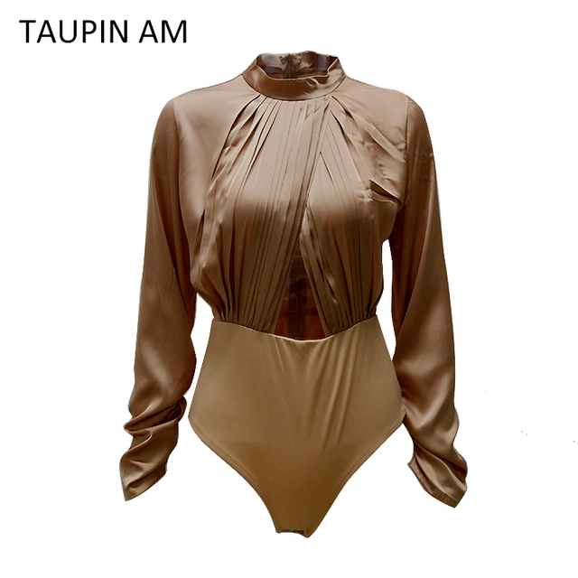 TAUPIN AM Sexy slip satin bodysuit top Autumn Hollow out women playsuits and jumpsuits long sleeve skinny bodysuits Overall