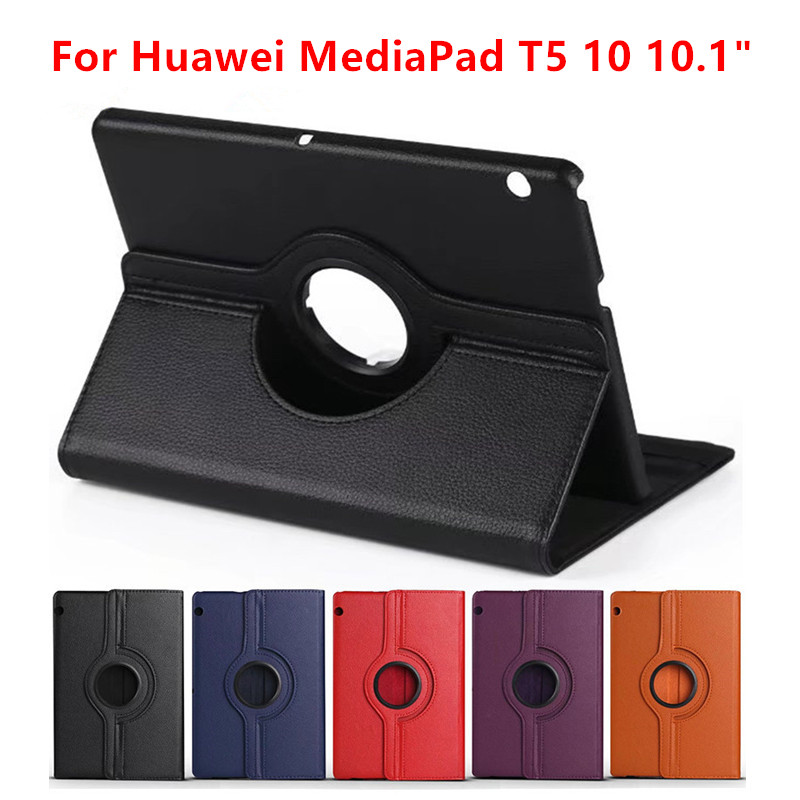 <font><b>360</b></font> Rotating Litchi Flip Stand Leather Flip Cover For Huawei MediaPad T5 10 AGS2-W09/L09/L03/W19 <font><b>10.1</b></font> inch Tablet Case+Film+Pen image