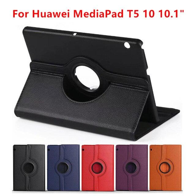 360 Вращающийся личи Кожаный чехол-книжка с подставкой с откидной крышкой для huawei MediaPad T5 10 AGS2-W09/L09/L03/W19 10,1 дюймов чехол для планшета + Защитная пленка на экран + подставка для ручек