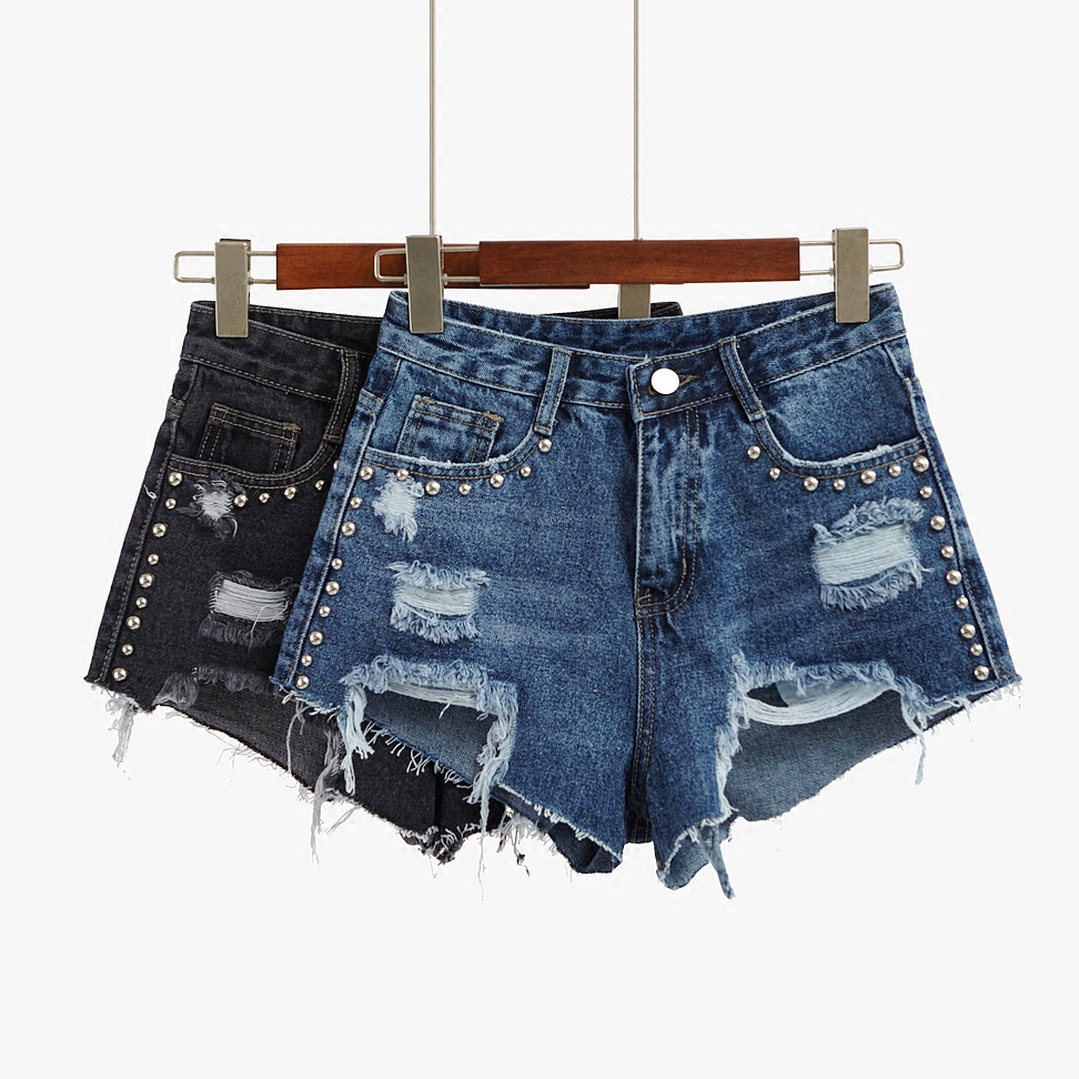 New Summer Womans Shorts Denim Short Holes Denim Rivet Pocket High Waist Jeans Sexy Mini shorts SBX27