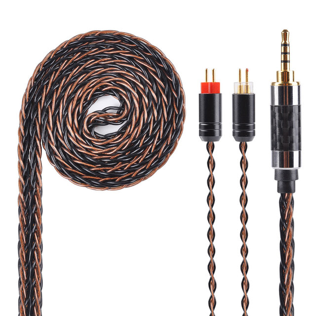 Yinyoo 8 Core chapados en plata Cable 2,5/3,5/4,4mm equilibrado Cable con MMCX/2pin conector para LZ A5 KZ ZS10 ZST ZSR ZSA ES4 ZS6