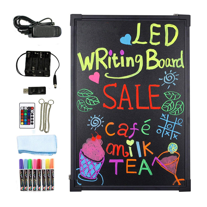 """LED Message Writing Board 16'' x 12"""" Illuminated Erasable Neon Effect Restaurant Menu Sign with 8 colors Markers 7 Colors Flash"""