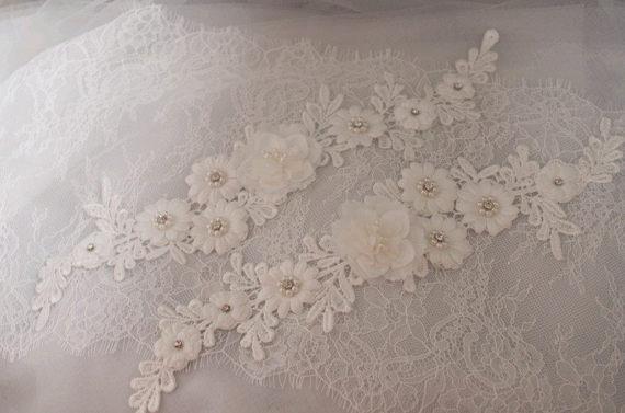Pc off white lace applique bead lace applique with d flowers