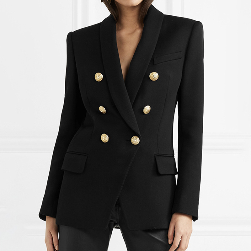 LARGERLOF Blazer Women Autumn Spring Double Breasted Blazer Whit Simple Women Blazers And Jackets BR50015