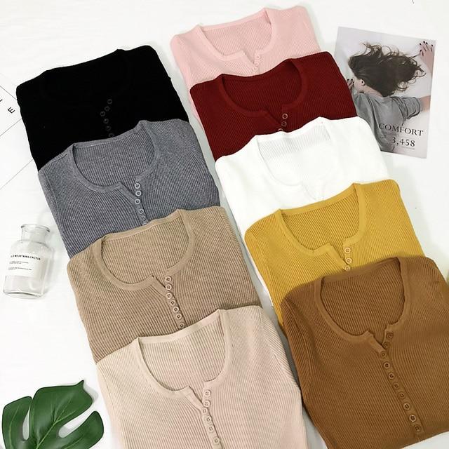 חדש 2019 אביב כפתור V צוואר סוודר נשים בסיסית רזה סרוג סוודר נשים סוודרים לסרוג Jumper גבירותיי סוודר