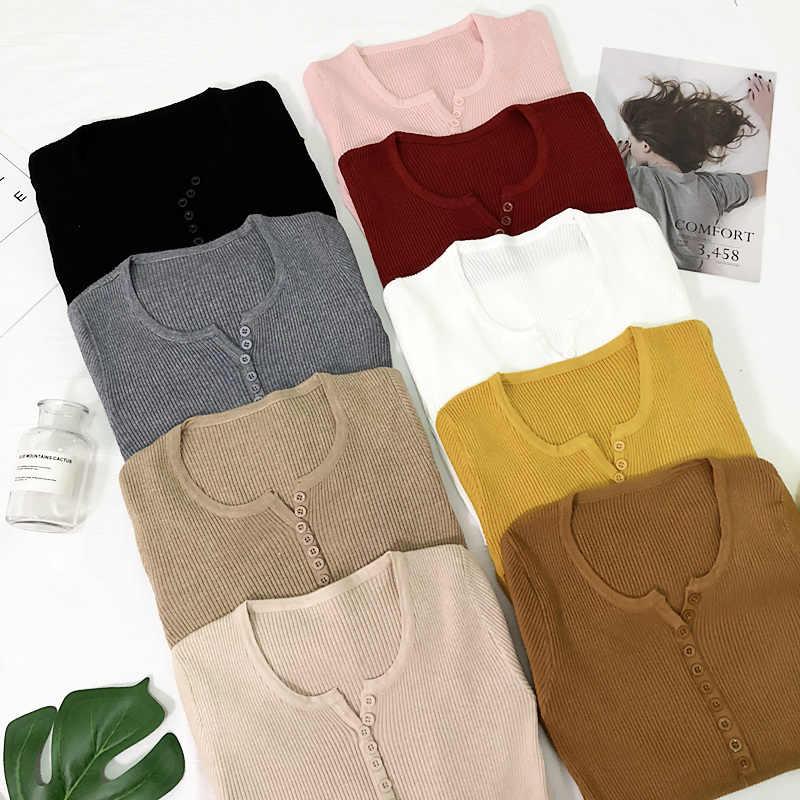 Nieuwe 2019 Lente Knop V-hals Trui Vrouwen Basic Slanke Gebreide Trui Vrouwen Truien En Pullovers Knit Jumper Dames Trui