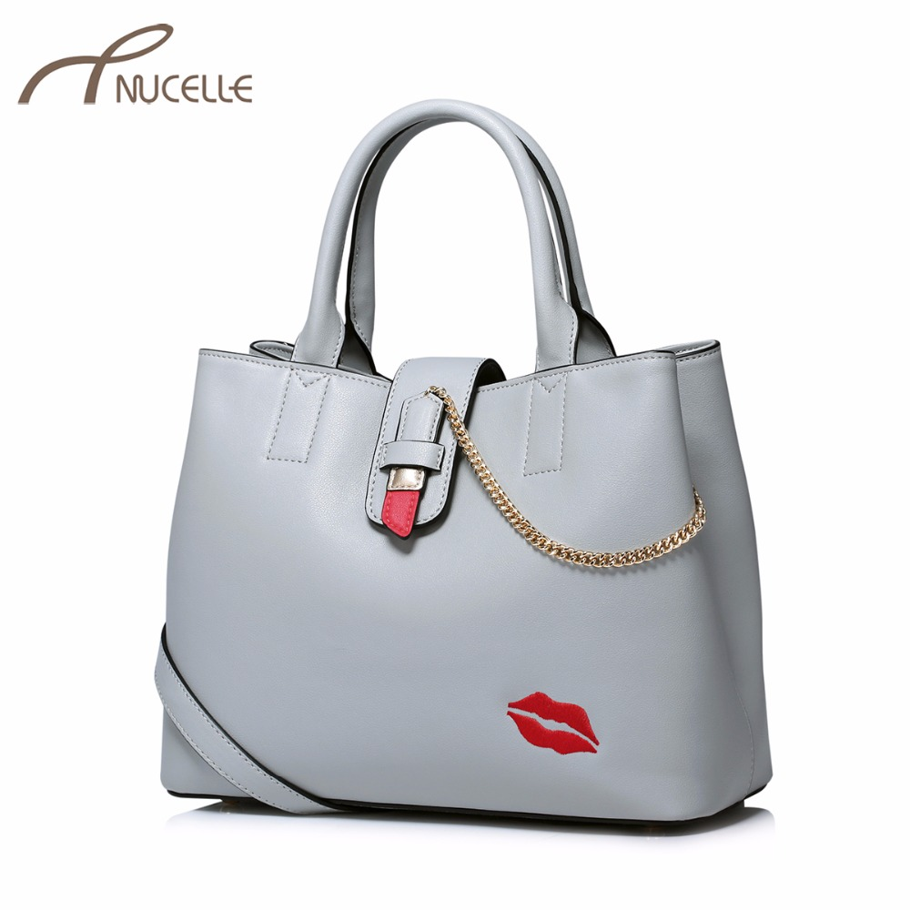 NUCELLE Women PU Leather Handbags Ladies Fashion Lip Embroidery Messenger Tote Purse Female Leisure Chain Shoulder Bag NZ5942  2017 fashion women bag fun flamingo design embroidery handbag for girl hit square bag leisure female shoulder messenger party