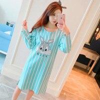 Fashion Women Milk Silk Nightgowns Summer Home Dress Cartoon Sleepwear Nightdress Loose Comfortable Sleepshirts For Girls
