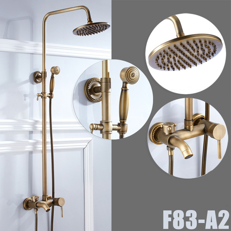 European luxury antique bath shower set with brass bathroom shower faucet and brass lifting shower set by cheap price shower set factory direct sale best price 8 brass head shower with hand shower bathroom shower faucet antique