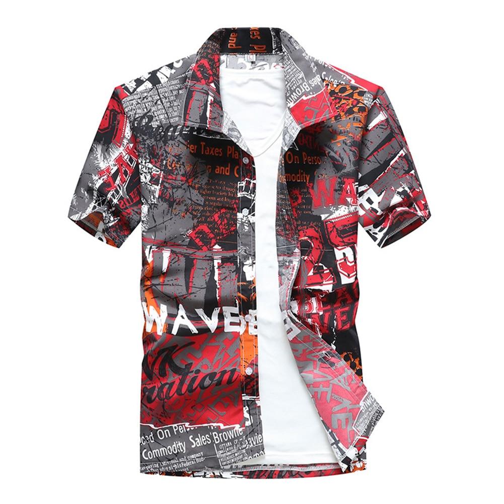 Mens Beach Hawaiian Shirt Tropical Summer Short Sleeve Shirt Men Streetwear Clothing Casual Loose Button Down Shirts Tops Dark Grey