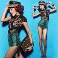Moda feminina cantora de Jazz trajes de dança rendas com Paillette Shorts de cintura alta