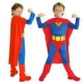 Высокое Качество Мальчиков Косплей Свободный размер Супермен Костюмы Детская Одежда Для Хэллоуина Комбинезоны