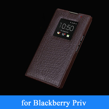 for Blackberry Priv Real Leather Case Window Designer Business Phone Cover for Black Berry Priv