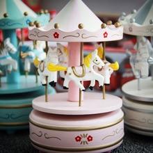 Merry-Go-Round Wooden Carousel Music Box Toy Child Baby Game Home Decor Carousel horse Music Box Christmas Wedding Birthday Gift