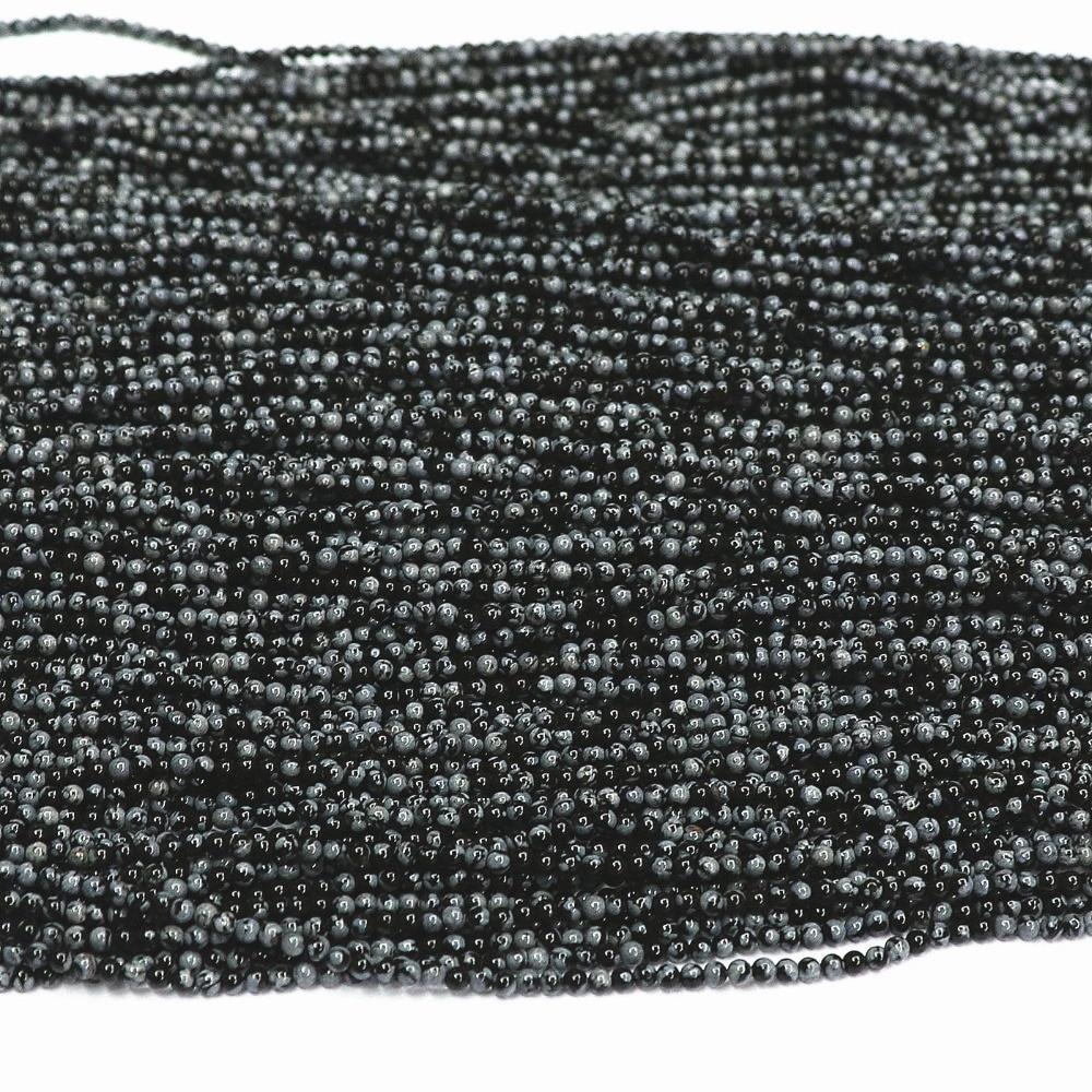 44dd300a8 Natural jasper obsidiana copo de nieve de piedra 2mm 3mm redondo encantador  de diy joyería de Los Granos flojos diy fabricación de La Joyería 15 B484