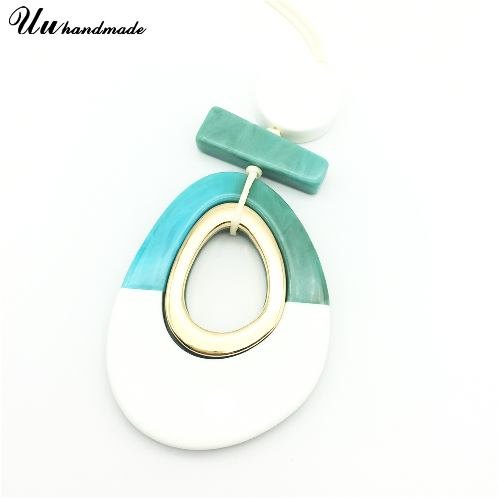 Image 2 - Statement acrylic drop pendant necklace leather retractable chain Women Jewelry Choker kolye long necklaces & pendants Collares-in Pendant Necklaces from Jewelry & Accessories