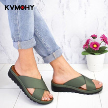 Woman Shoes New Lady Slippers Fashion Slides Outside Wearing Muffins Thick Bottom One Word Drag Women's Shoes PU Leather Gold