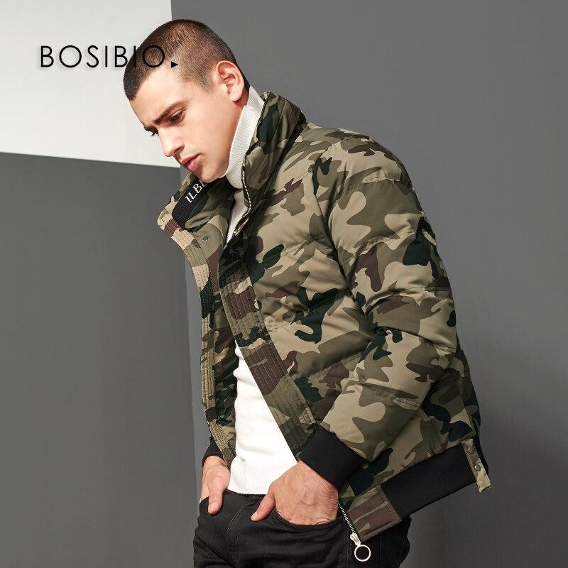 Bosibio 육군 녹색 위장 망 겨울 파카 스탠드 칼라 따뜻한 지퍼 코트 남성 슬림 맞는 자켓 겉옷 고품질 8160-에서파카부터 남성 의류 의  그룹 1
