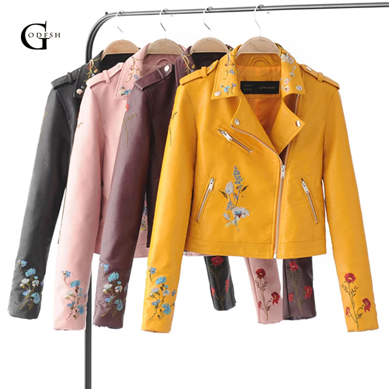 GODFSH Womens Embroidery Leather Jacker Spring Autumn Long Sleeve Zipper Bomber Jacket Motorcycle Outerwear Pu Coat RH180