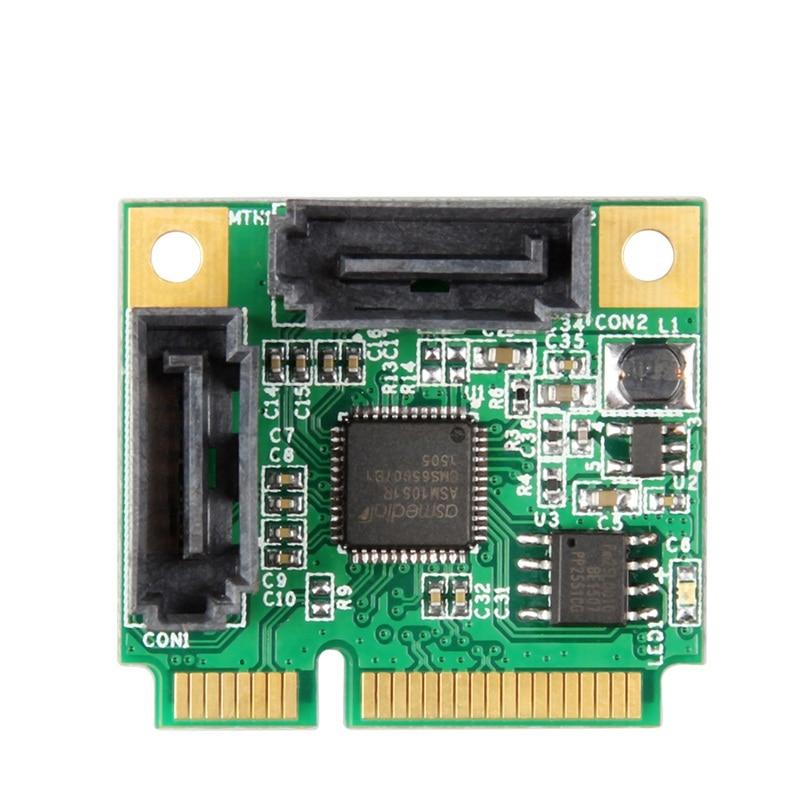Mini PCI-Express To SATA 3.0 Support 6Gb/s 2x Internal Port RAID Controller Card Board