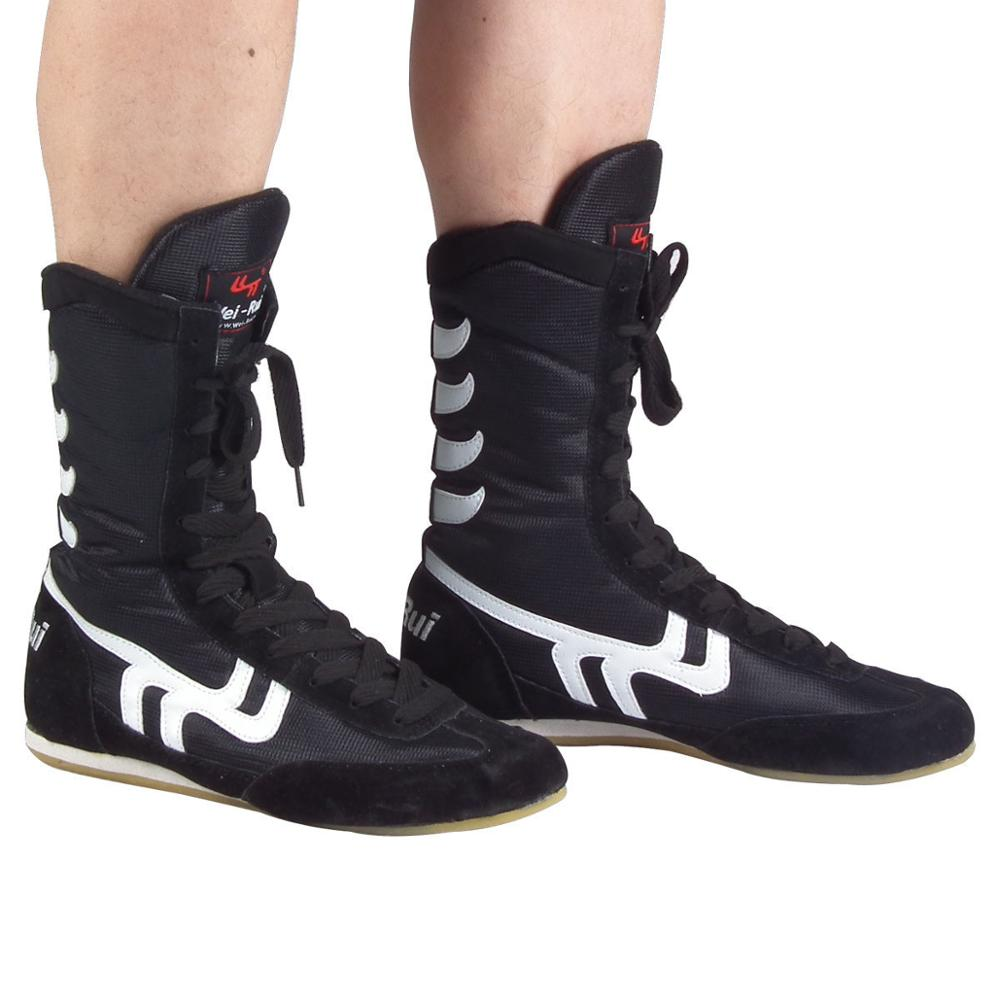 Wholesale Men boxing shoes Wrestling Shoes Lace-up Cow Leather boxer boots Gym training gear Sneakers equipment Size 35-46 lace up stripe spliced straight leg boxer shorts for men