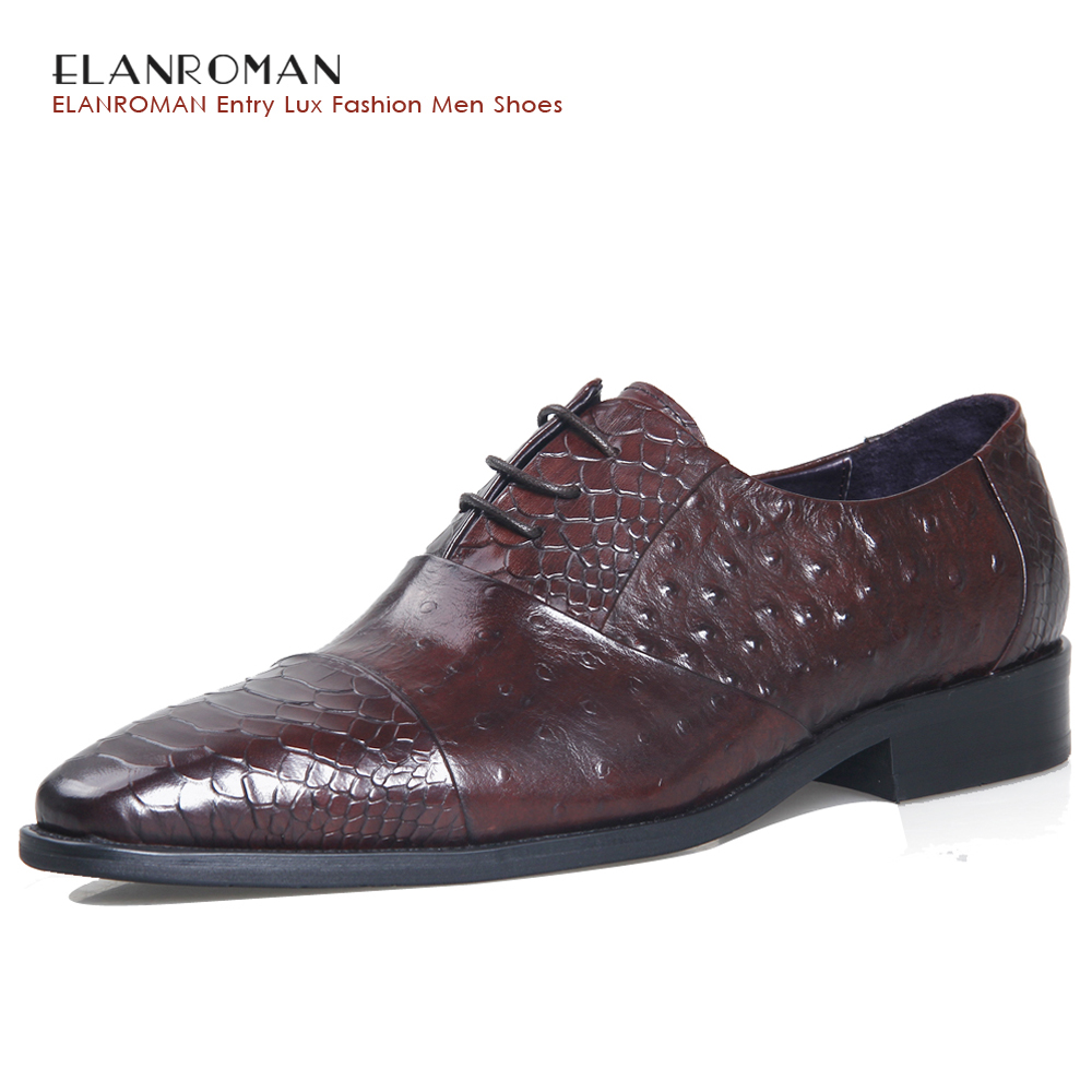 ELANROMAN Top Fashion luxury quality leather men shoes Men Square Toe Oxfords Brown Dress Shoes wedding business formal shoes top quality crocodile grain black oxfords mens dress shoes genuine leather business shoes mens formal wedding shoes