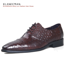 ELANROMAN Top Fashion luxury quality leather men shoes Men Square Toe Oxfords Brown Dress Shoes wedding business formal shoes