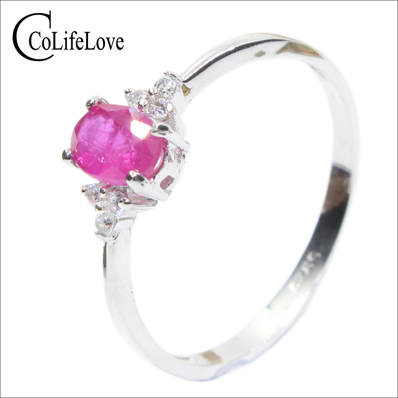 Real 925 silver gemstone ring for engagement  0.5 ct natural ruby solid romantic gift girl