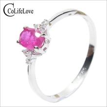 Verdadeiro 925 prata gemstone anel de noivado 0.5 ct natural rubi anel de prata rubi anel de prata sólida presente romântico para menina