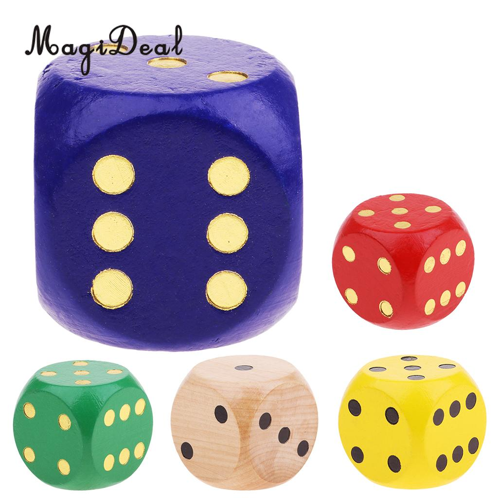 Extra Large Wooden Dice With Rounded Corner D6 Six Sided Dice 5cm Blue