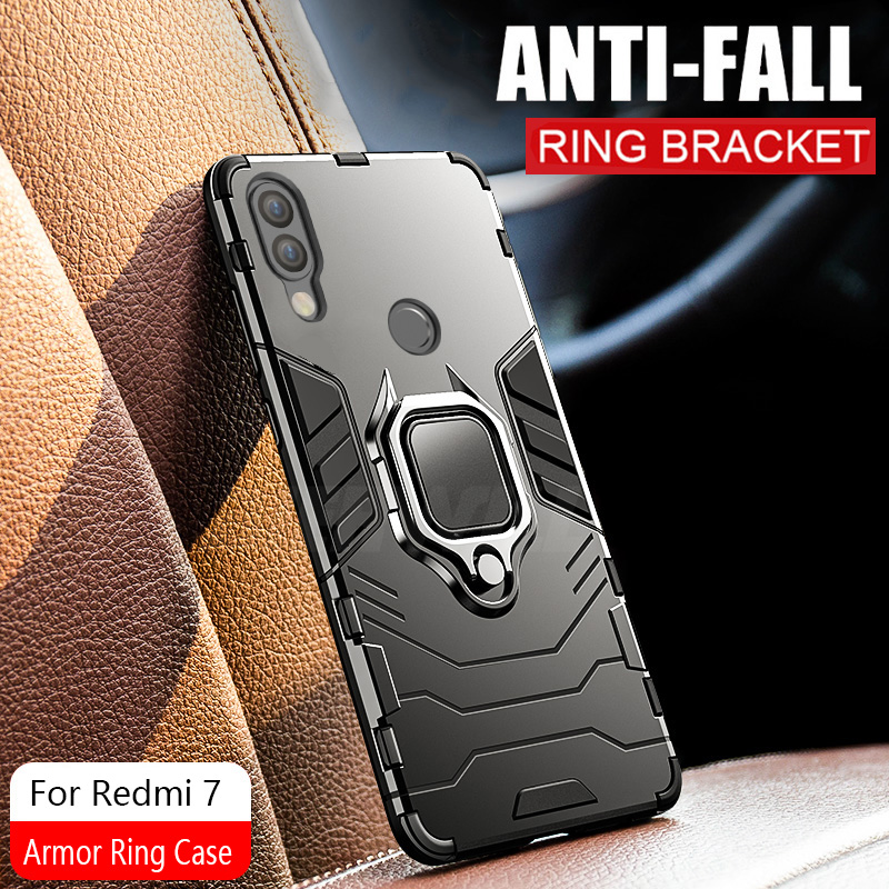 Armor Ring Case For xiaomi redmi 7 case Magnetic Car Hold Shockproof Protective Soft Bumper Phone Cover For xiaomi redmi 7 Case-in Fitted Cases from Cellphones & Telecommunications