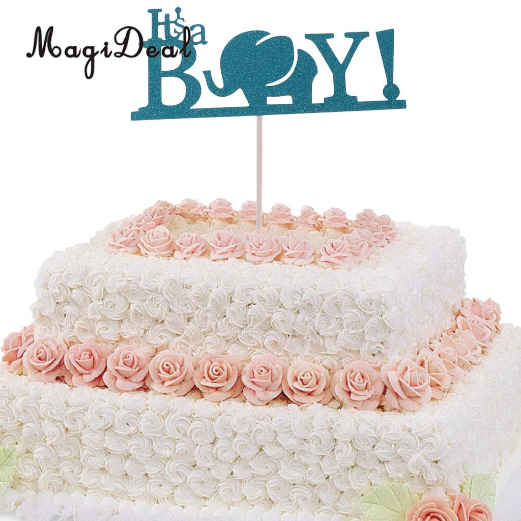 Magideal Beautiful 10pcs Its A Boy Elephant Birthday Cake Toppers