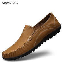 2019 fashion men's casual shoes slip-on loafers genuine leather brown & blue driving shoe man breathable platform shoes for men