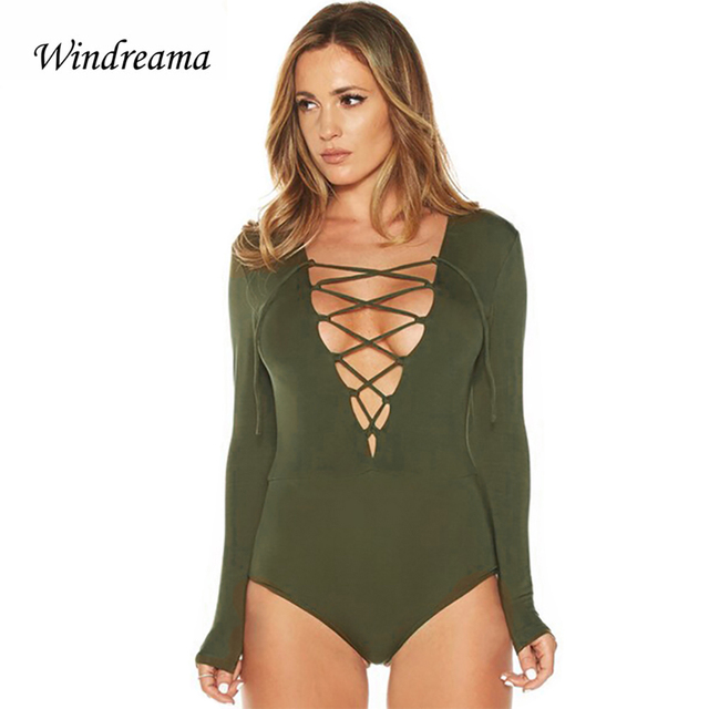 New Sexy Rompers Womens Jumpsuit V-Neck Bodysuit Up Tie Front Stretch  Combinaison Femme Jumpsuit 760ac50da