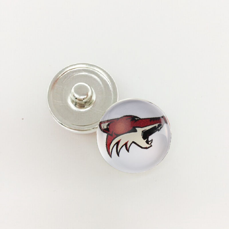Team Sports Metal Button Snap 18MM Hockey Arizona Coyotes Glass Snap Jewelry For Jewelry DIY Bracelet