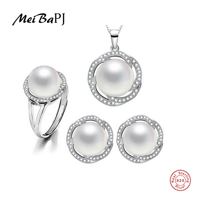 MeiBaPJ Large Pearl Beads Flower Fine Jewery Genuine Freshwater Pearl Jewelry Sets For Women 925 Silver Metal With Gift Box