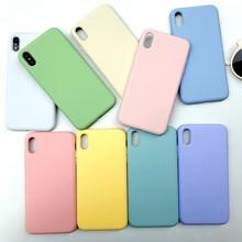 סוכריות צבעים רגיל נוזל סיליקון מצויד מקרה עבור iPhone XR Xs מקסימום X R 10 ג ל גומי טלפון כיסוי מגן מקרי מעטפת Coque